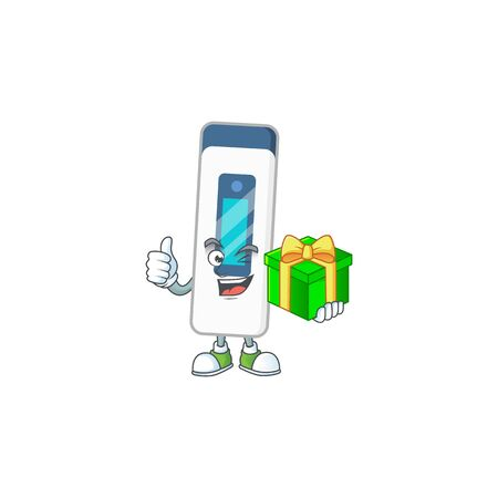 Smiley digital thermometer cartoon character holding a gift box. Vector illustration