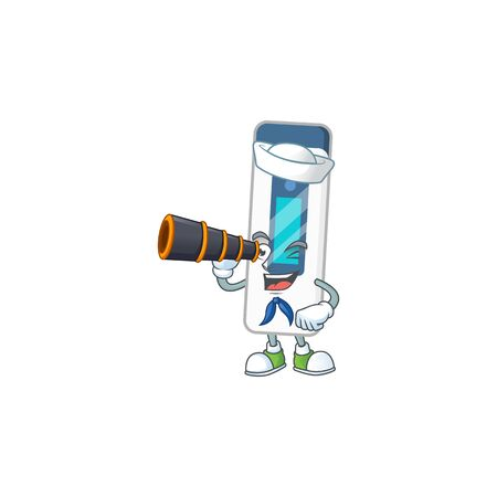 Digital thermometer in Sailor cartoon character style using a binocular. Vector illustration
