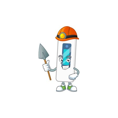 cartoon character design of digital thermometer work as a miner. Vector illustration