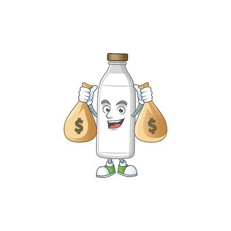 Blissful rich milk bottle cartoon character having money bags. Vector illustration