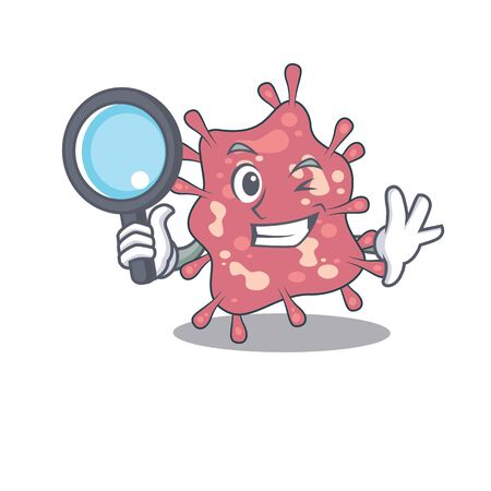 Smart Detective of haemophilus ducreyi mascot design style with tools. Vector illustration