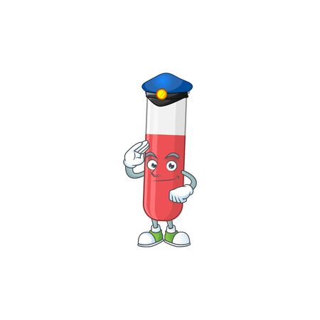 A dedicated Police officer of red test tube mascot design style. Vector illustration Vettoriali