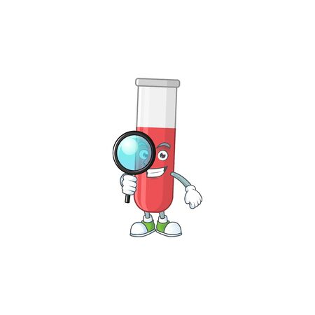 Smart Detective of red test tube cartoon character design concept. Vector illustration Vettoriali