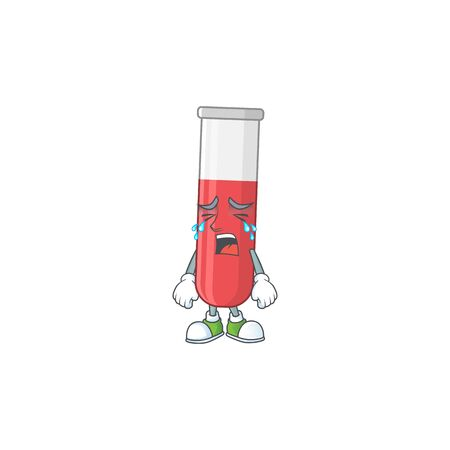 A weeping red test tube cartoon character concept. Vector illustration
