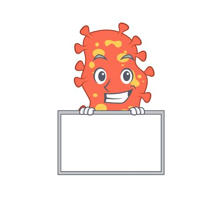 Smiling Bacteroides cartoon design style has a board