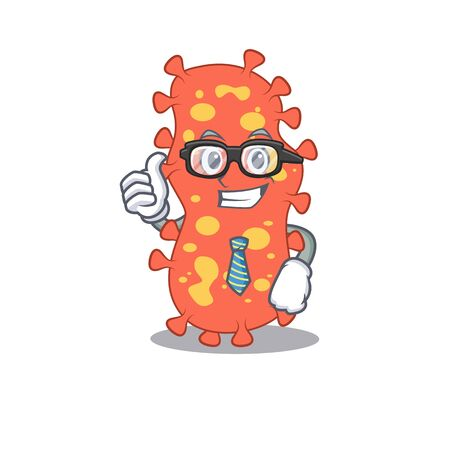 An elegant bacteroides Businessman mascot design wearing glasses and tie. Vector illustration