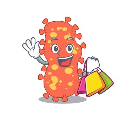 Rich and famous bacteroides cartoon character holding shopping bags. Vector illustration