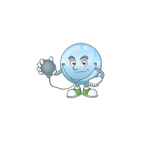 A dedicated Doctor collagen droplets Cartoon character with stethoscope