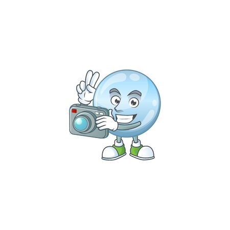 Collagen droplets photographer mascot design concept using an expensive camera