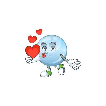 An adorable cartoon design of collagen droplets holding heart