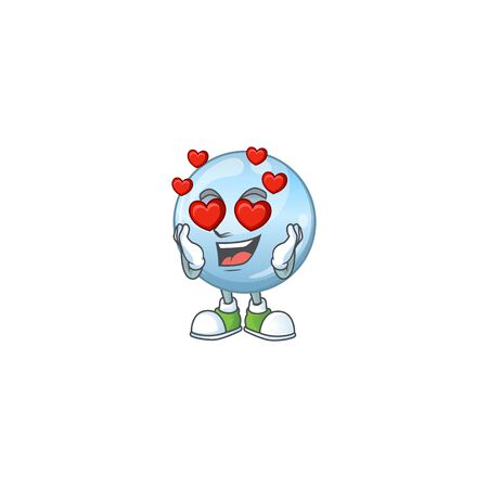 Charming collagen droplets cartoon character with a falling in love face Illustration