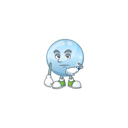 Collagen droplets with waiting gesture cartoon mascot design concept