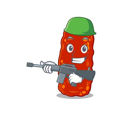 A cartoon picture of acinetobacter bacteria in Army style with machine gun