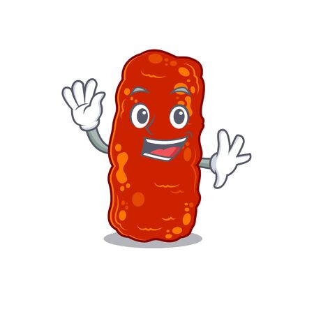 A charismatic acinetobacter bacteria mascot design style smiling and waving hand