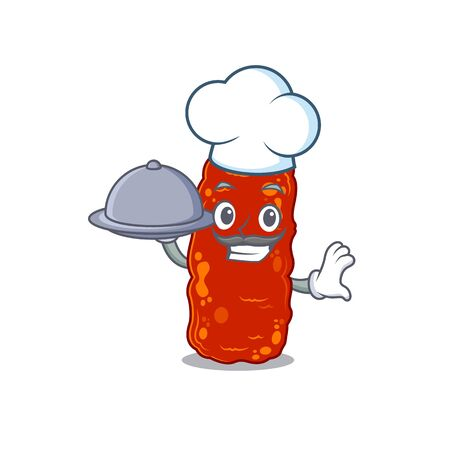 Acinetobacter bacteria chef cartoon character serving food on tray