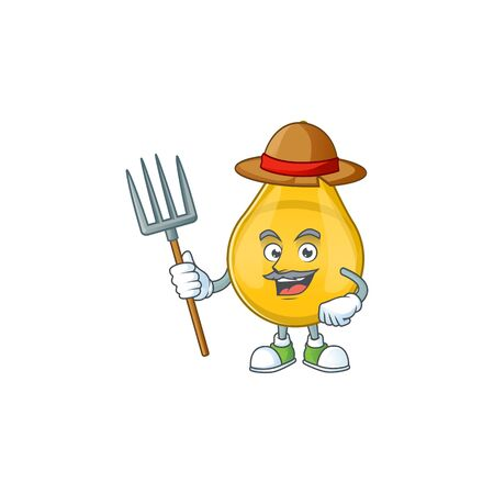 Mascot design style of Farmer gold hair serum with hat and pitchfork Stock Illustratie