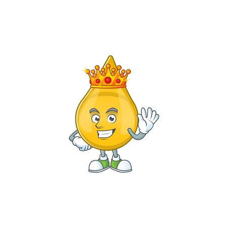 The Charismatic King of gold hair serum cartoon character design wearing gold crown