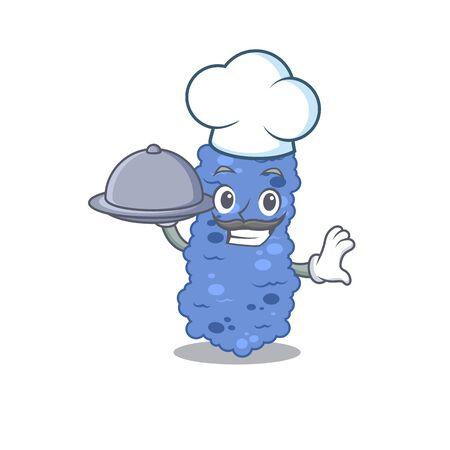 Burkholderia bacteria chef cartoon character serving food on tray