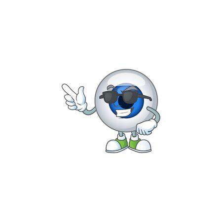 Super cute human eye ball cartoon character wearing black glasses. illustration Vectores
