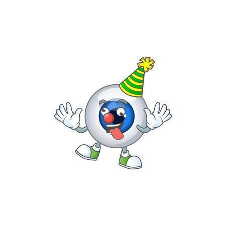 Amusing Clown human eye ball cartoon character mascot style. Vector illustration Ilustração