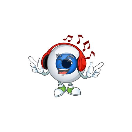 Cartoon mascot design human eye ball enjoying music with headset. Vector illustration Ilustração