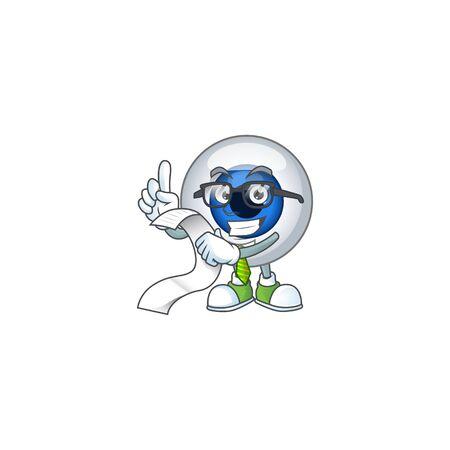 Mascot cartoon concept of human eye ball with menu list. Vector illustration
