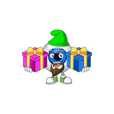 A smiling human eye ball cartoon design having Christmas gifts. illustration
