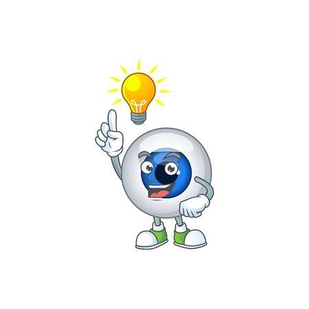 A genius human eye ball mascot character design have an idea. Vector illustration