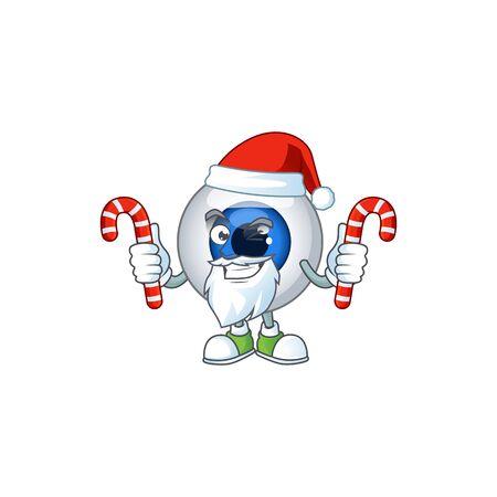 Human eye ball humble Santa Cartoon character having candies. Vector illustration