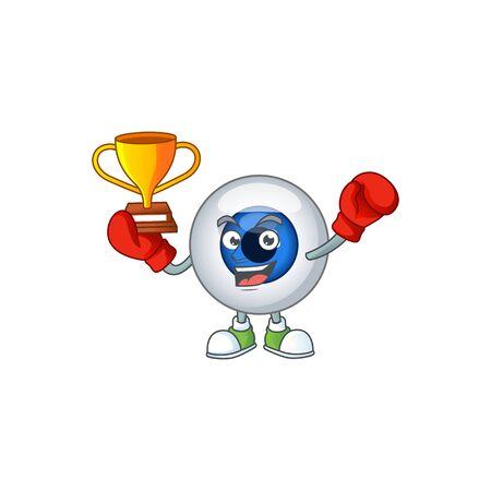 Proudly face of boxing winner human eye ball presented in cartoon character design. illustration Ilustração
