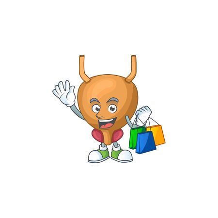 cartoon character concept of rich bladder with shopping bags. illustration