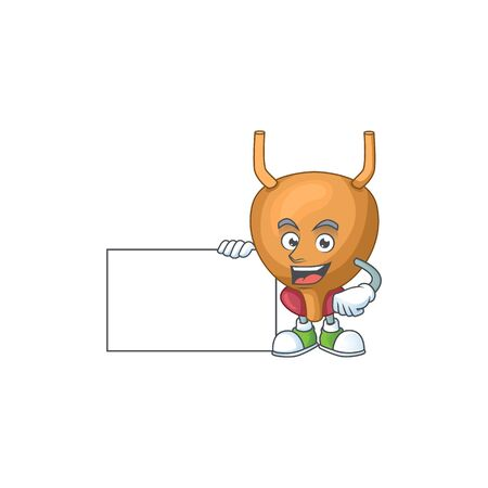 Bladder cartoon character concept Thumbs up having a white board. illustration