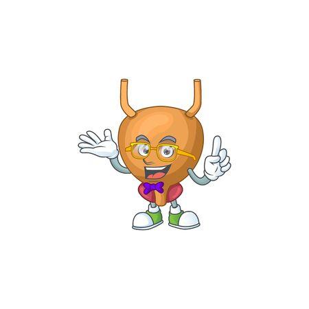 Cartoon character design of Geek bladder wearing weird glasses. illustration