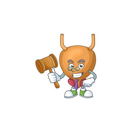Charismatic Judge bladder cartoon character design with glasses. illustration