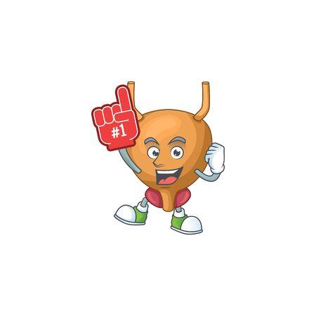Cartoon character concept of bladder holding red foam finger. illustration