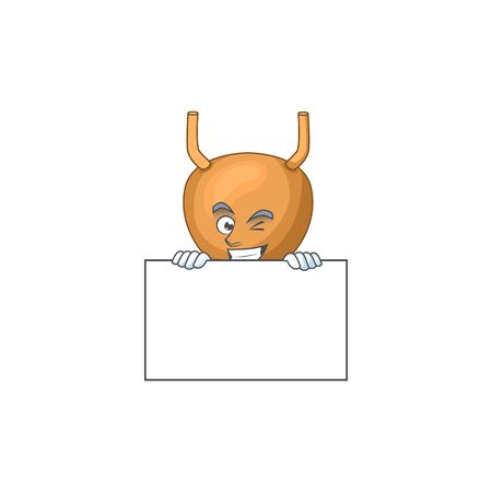 Sneaky bladder cartoon character style hiding behind a board. Vector illustration