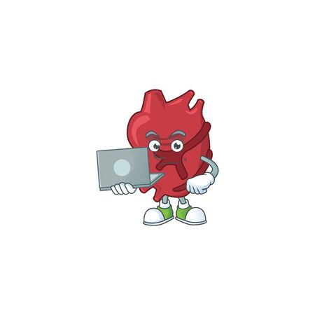 Diligent heart mascot design style working from home with laptop. illustration