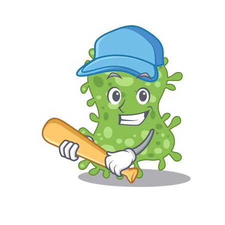 Picture of salmonella enterica cartoon character playing baseball. Vector illustration Vectores