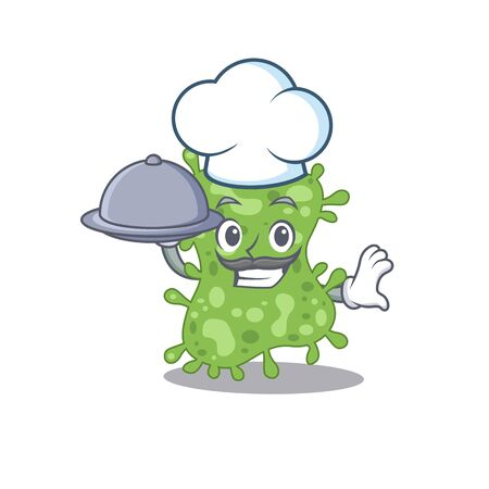 Salmonella enterica chef cartoon character serving food on tray. Vector illustration Vectores