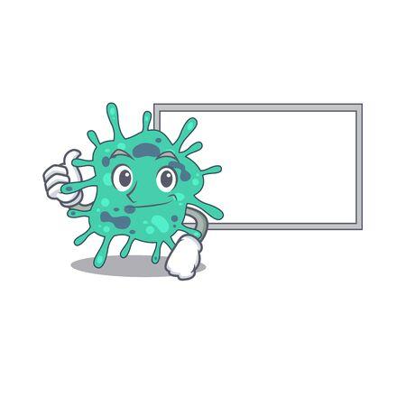 Humorous shigella boydii cartoon design Thumbs up bring a white board. Vector illustration Vecteurs