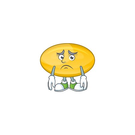 Cartoon picture of oil capsule with worried face. illustration