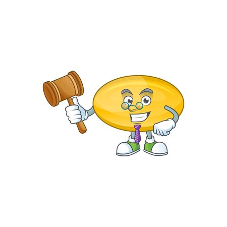 Charismatic Judge oil capsule cartoon character design with glasses