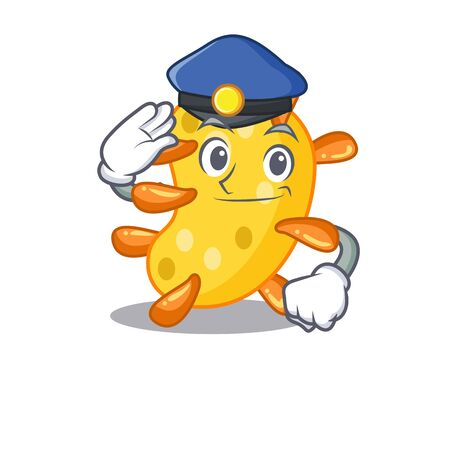 Police officer mascot design of vibrio wearing a hat Vettoriali