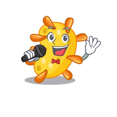 Talented singer of vibrio cartoon character holding a microphone