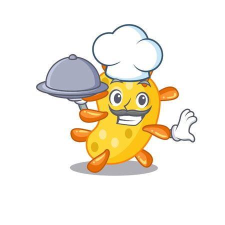 Vibrio chef cartoon character serving food on tray