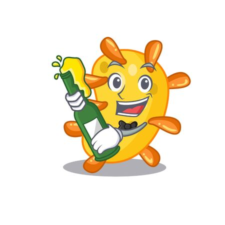 Mascot character design of vibrio say cheers with bottle of beer Ilustração