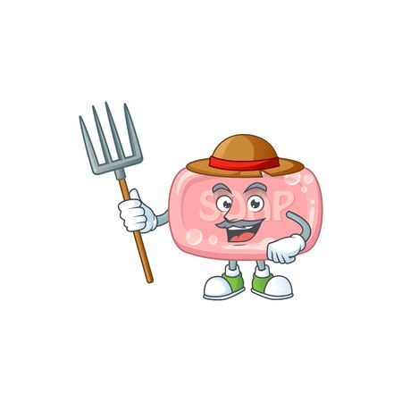 Mascot design style of Farmer pink soap with hat and pitchfork. Vector illustration
