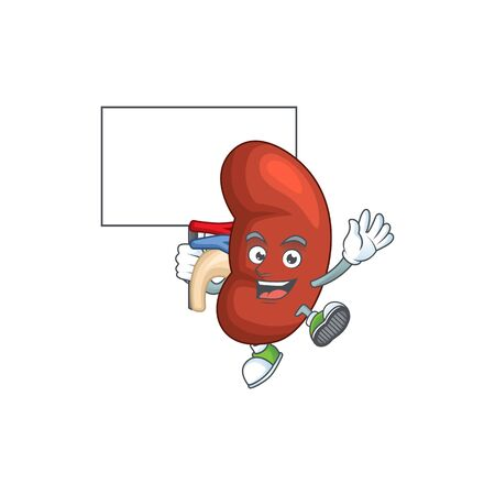 Sweet right human kidney cartoon character rise up a board. Vector illustration