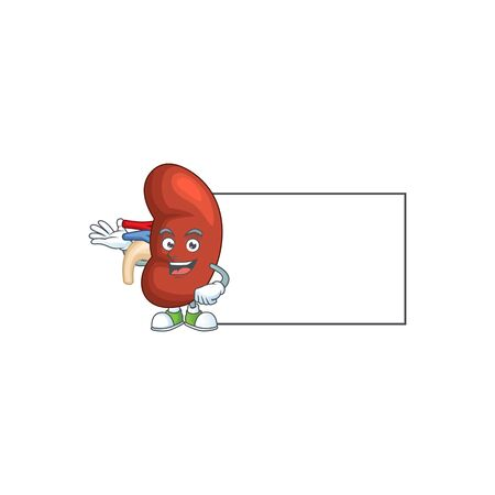 An image of right human kidney with board mascot design style. Vector illustration