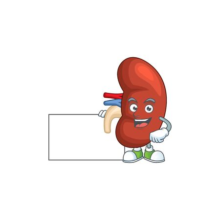 Right human kidney cartoon character concept Thumbs up having a white board. Vector illustration Illustration